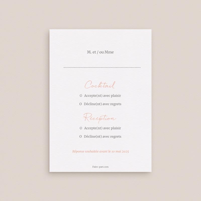 Carton réponse mariage Fleurs d'Aquarelle Kraft, Rsvp