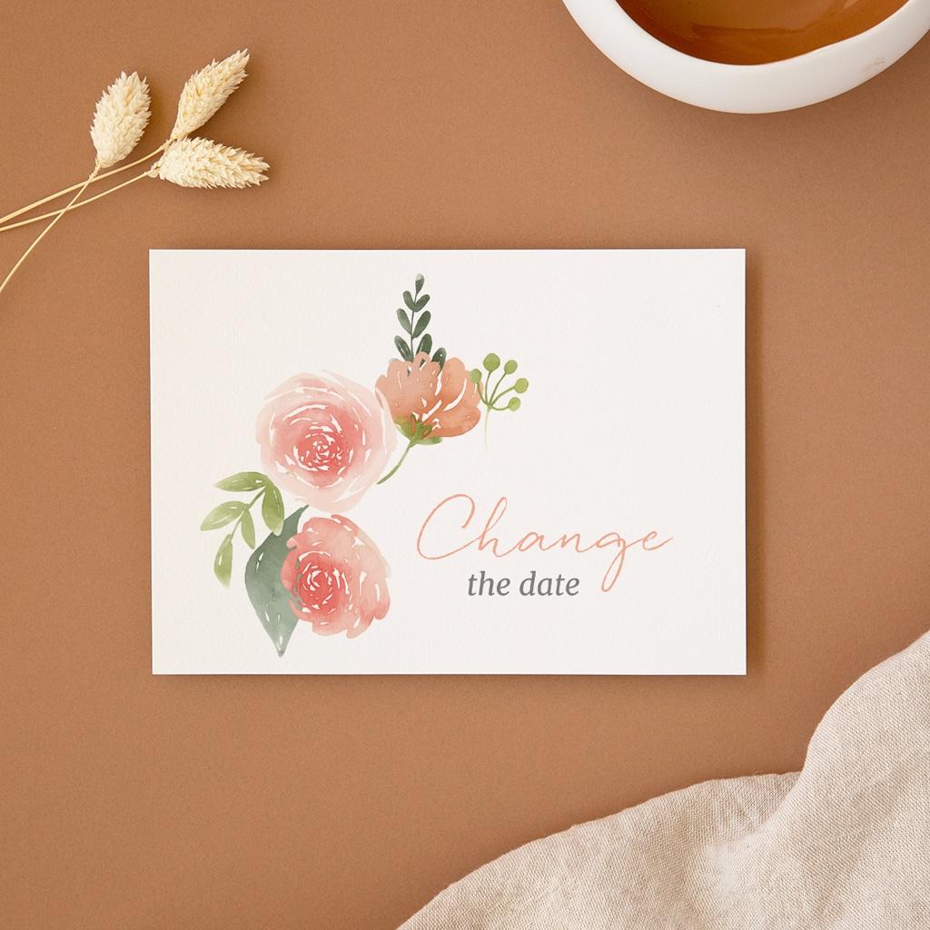 Change the date mariage Fleurs d'aquarelle Kraft, New date