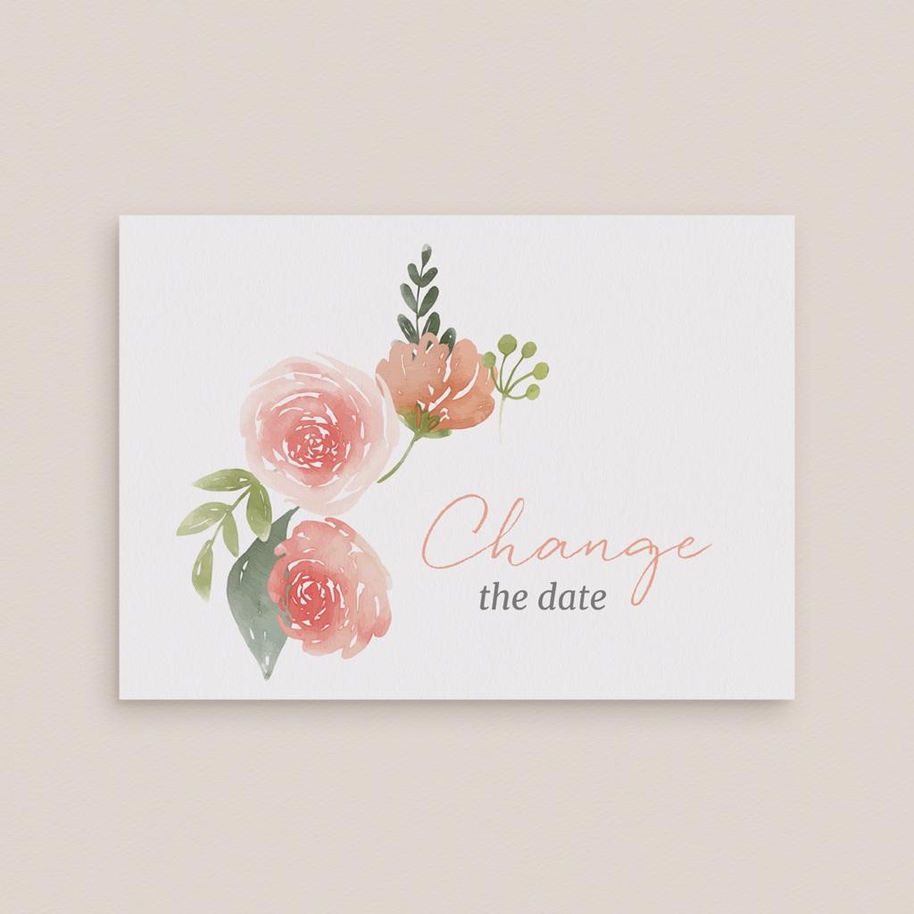 Change the date mariage Fleurs d'aquarelle Kraft, New date gratuit