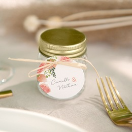 Etiquettes cadeaux mariage Fleurs d'Aquarelle Kraft, 13 x 8 cm