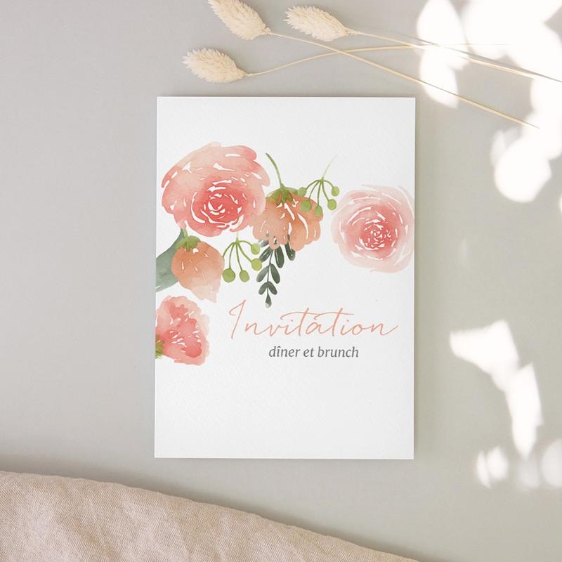 Carte invitation Brunch Fleurs d'Aquarelle Kraft, dîner & Brunch