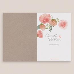 Livret de messe mariage Fleurs d'aquarelle Kraft, 15 x 22 cm gratuit