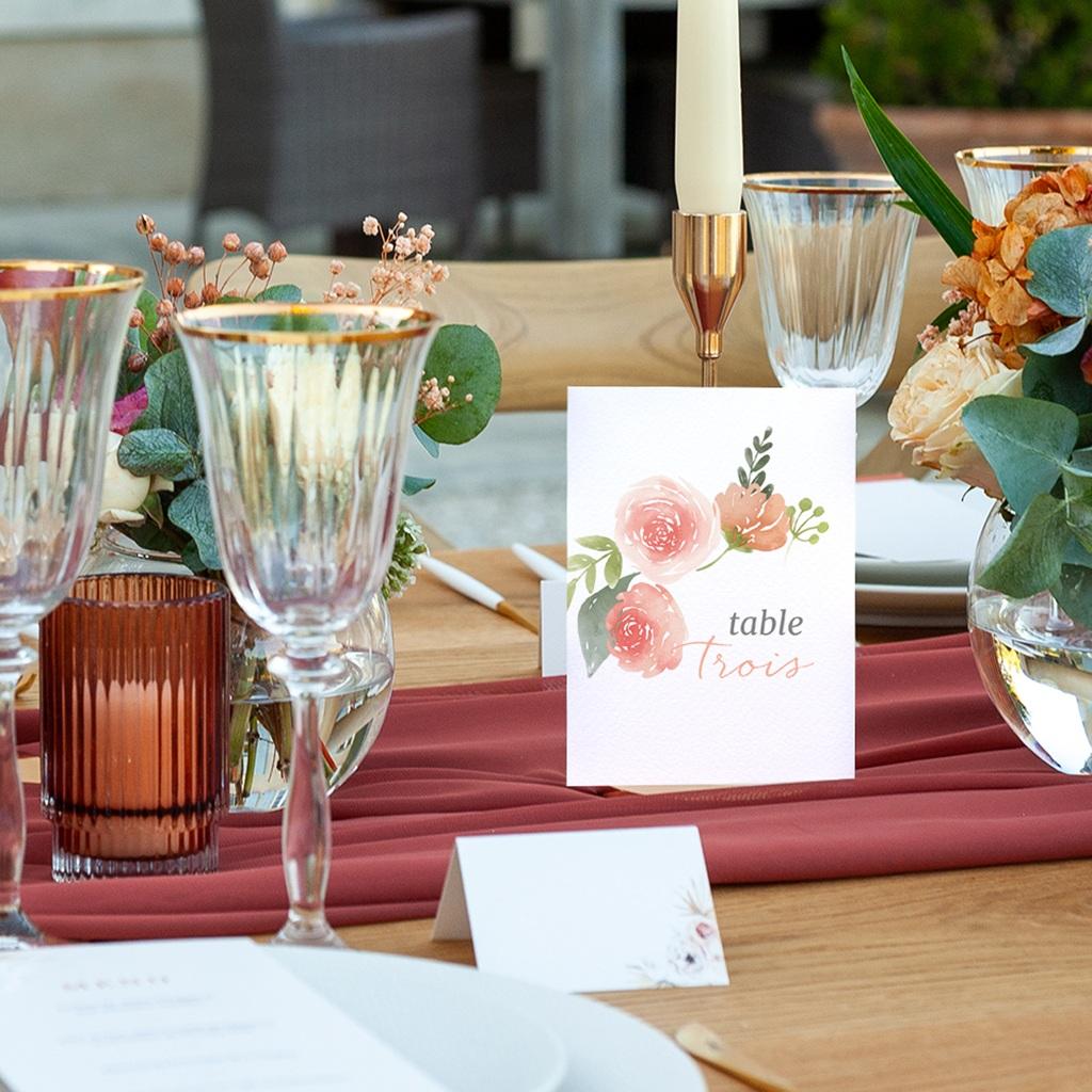 Marque table mariage Fleurs d'Aquarelle Kraft, Lot de 3 pas cher