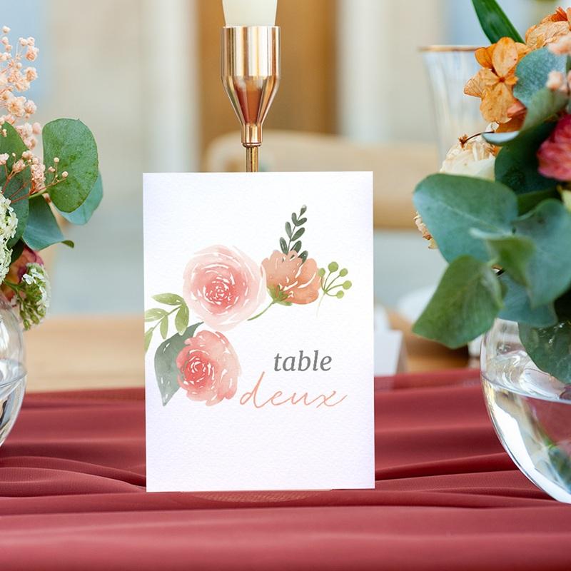 Marque table mariage Fleurs d'Aquarelle Kraft, Lot de 3 gratuit