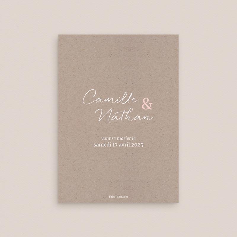 Save-the-date mariage Fleurs d'Aquarelle Kraft, Jour J