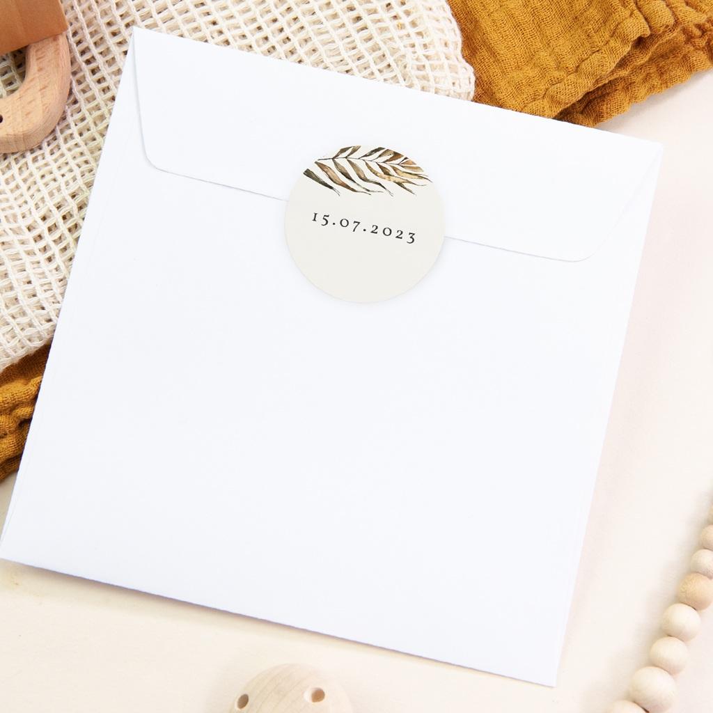 Etiquette enveloppes mariage Médaillon Floral, 4,5 cm pas cher