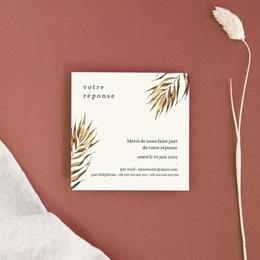 Carton réponse mariage Médaillon Floral, 10 x 10 cm