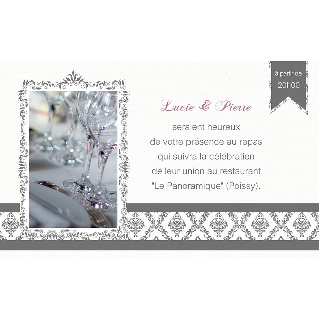 Carte d'invitation mariage Baroque  pas cher