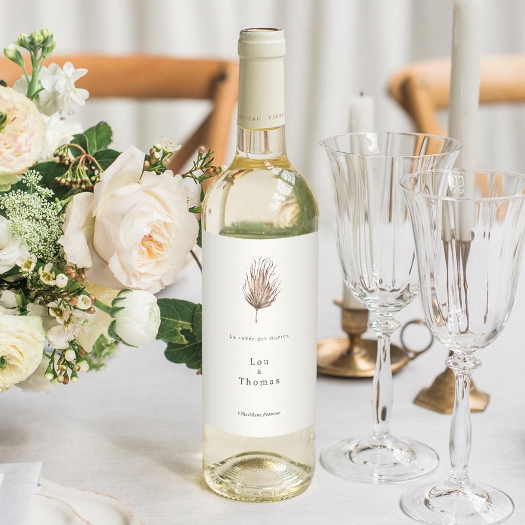 Etiquette bouteille mariage Médaillon Floral, 8 x 13 cm