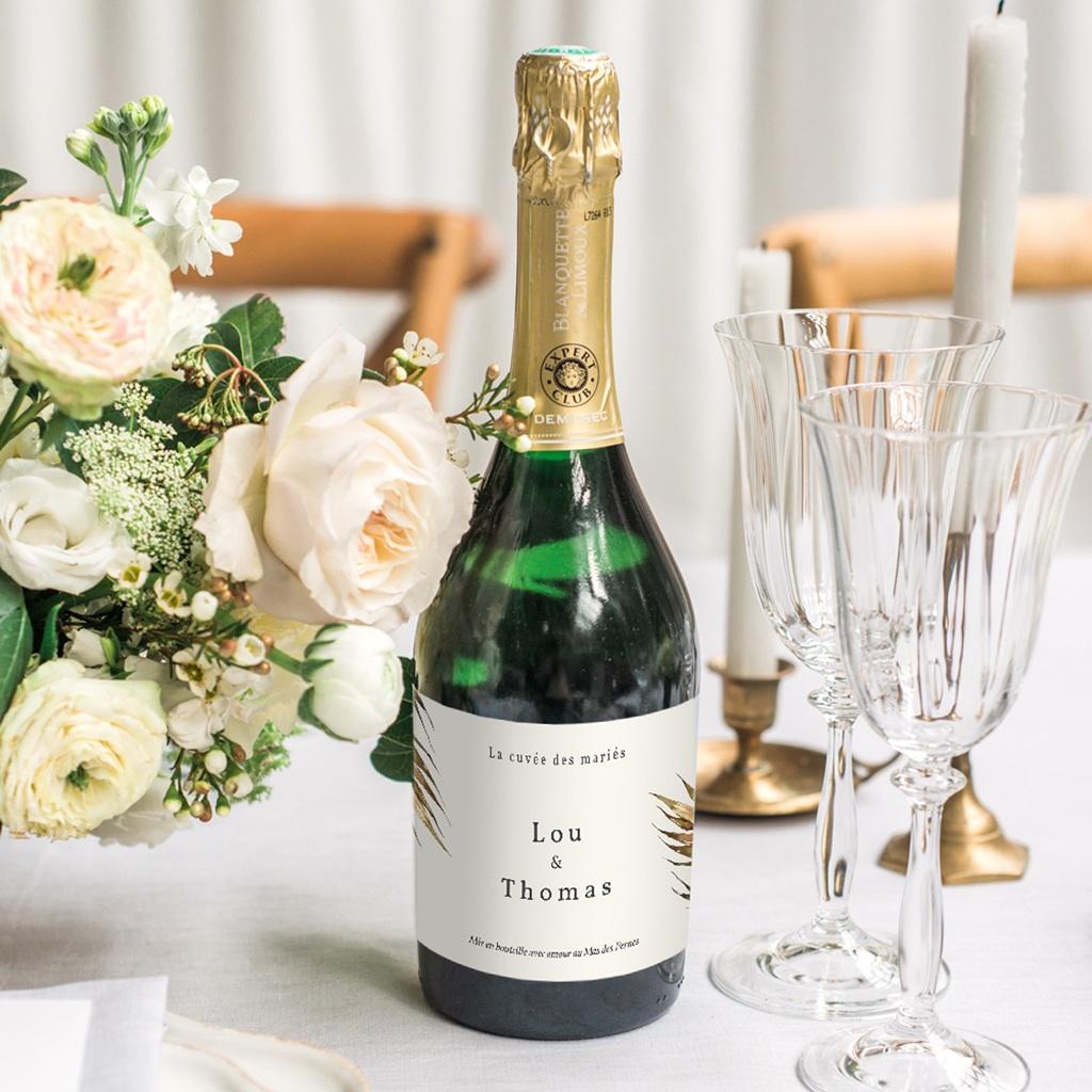 Etiquette bouteille mariage Médaillon Floral, 13 x 8 cm gratuit