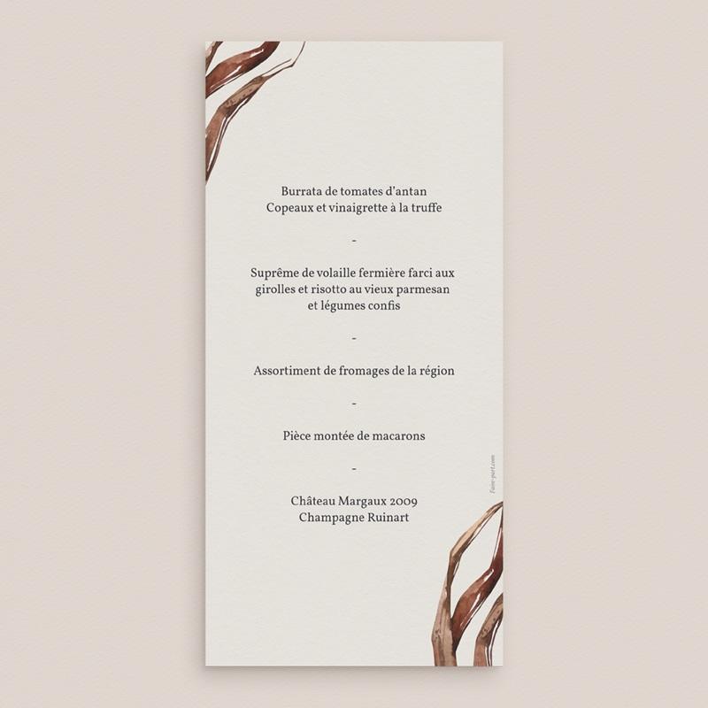 Menu mariage Médaillon Floral, 10 x 21 cm pas cher