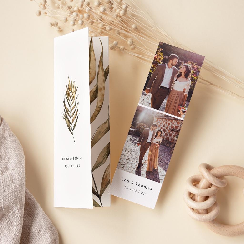 Carte de remerciement mariage Médaillon Floral, 7 x 21 cm