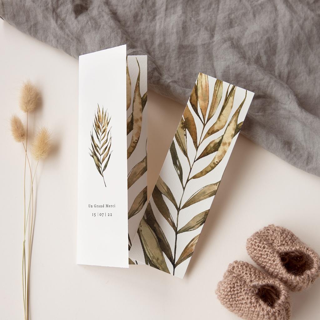 Carte de remerciement mariage Médaillon Floral, 7 x 21 cm pas cher