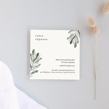 Carton réponse mariage Encadrement Floral, 10 x 10 cm