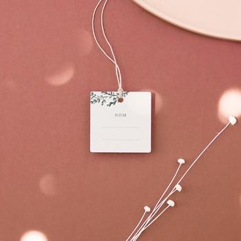 Etiquettes cadeaux mariage Encadrement Floral, 4.5 x 4.5 cm