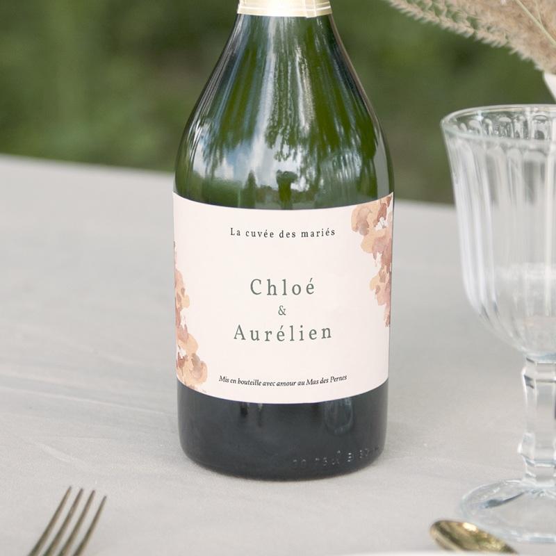 Etiquette bouteille mariage Encadrement Floral,  13 x 8 cm
