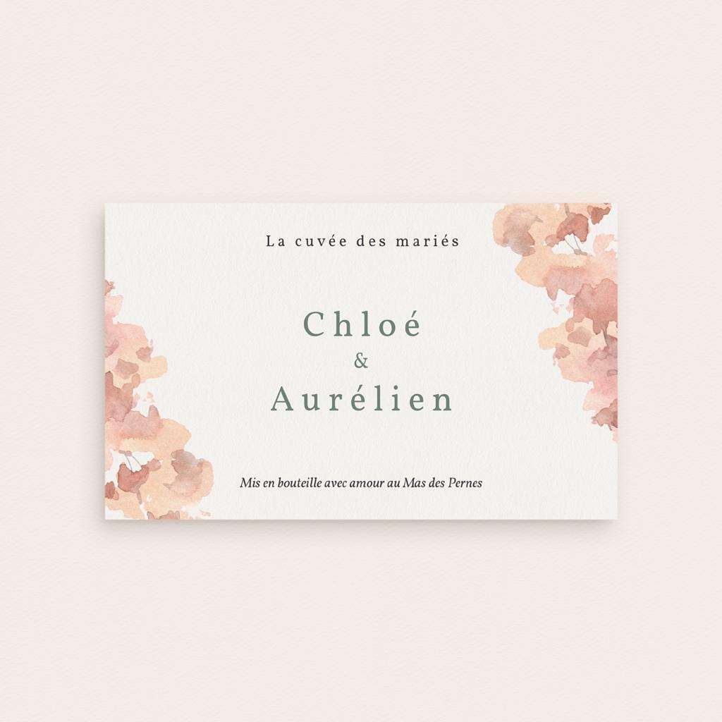 Etiquette bouteille mariage Encadrement Floral,  13 x 8 cm pas cher