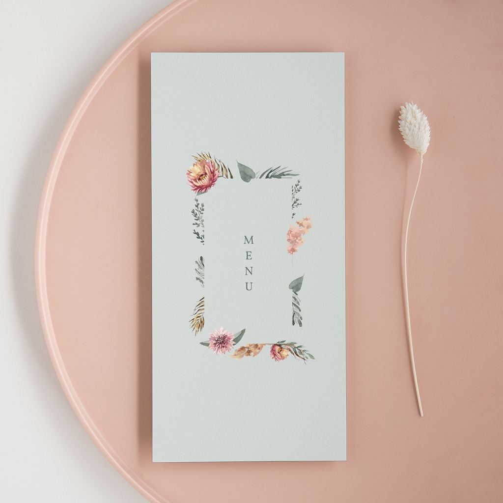 Menu mariage Encadrement Floral, 10 x 21 cm