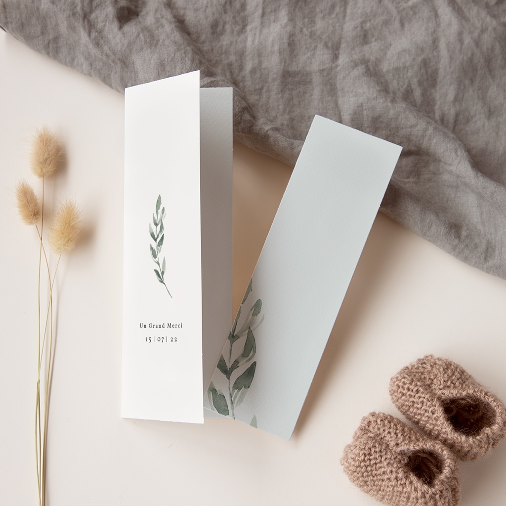 Carte de remerciement mariage Encadrement Floral, 7 x 21 cm pas cher