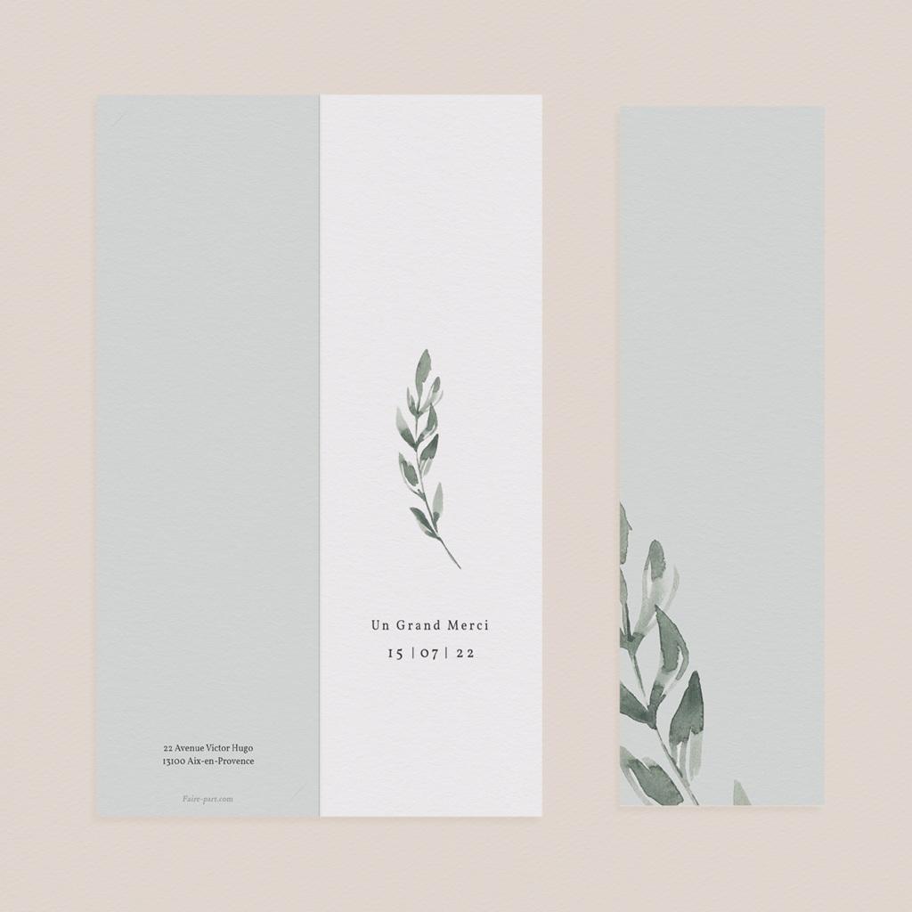 Carte de remerciement mariage Encadrement Floral, 7 x 21 cm