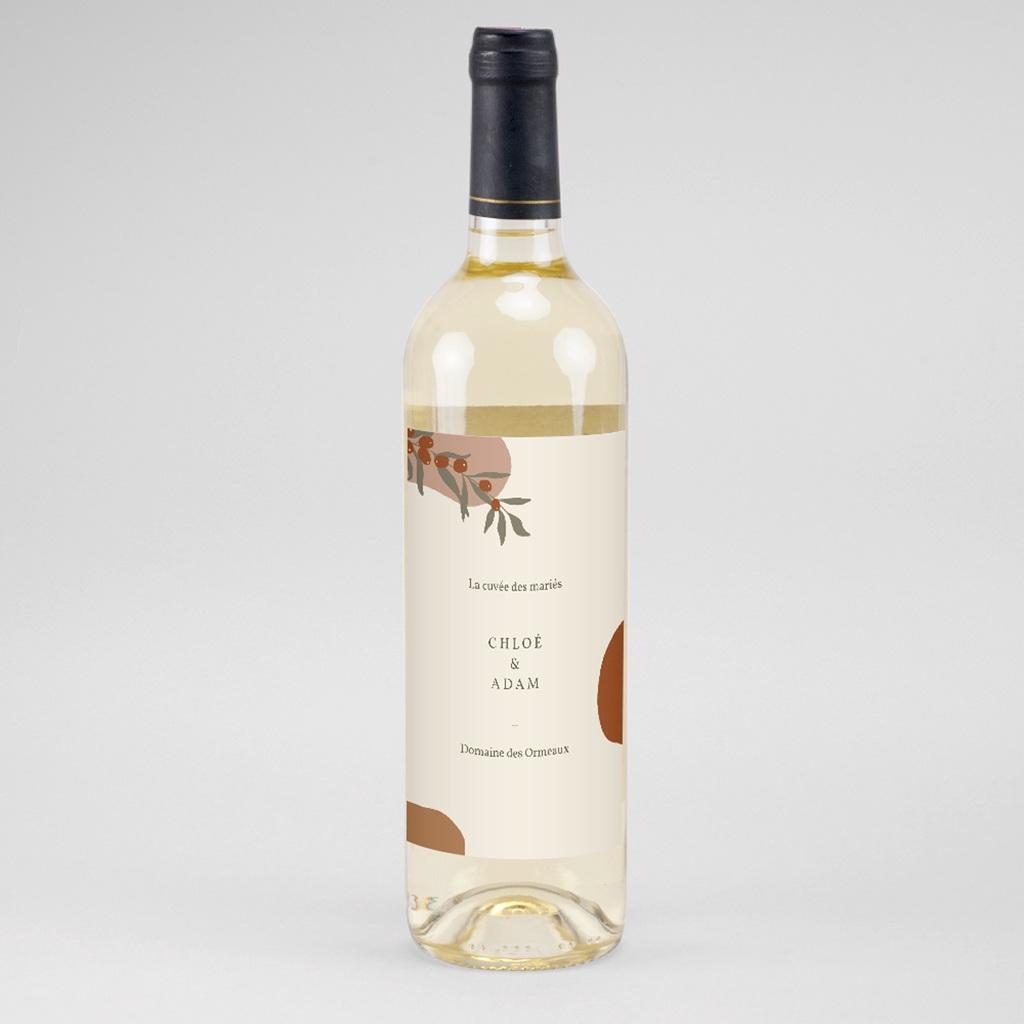 Etiquette bouteille mariage Olivier Boho, vin