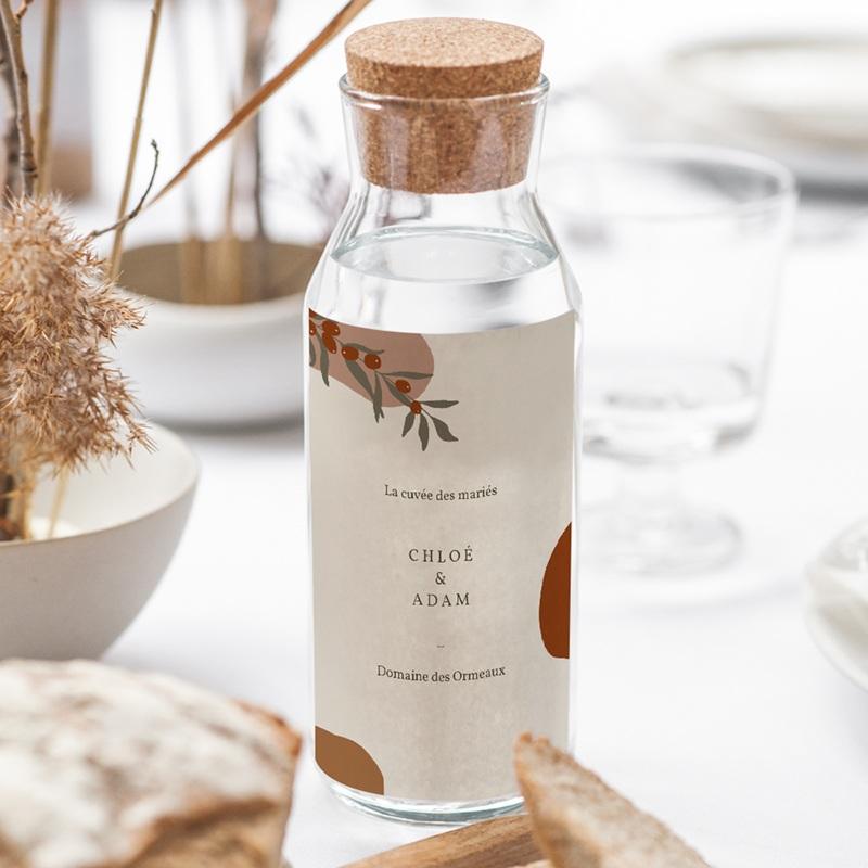 Etiquette bouteille mariage Olivier Boho, vin gratuit