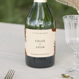 Etiquette bouteille mariage Olivier Boho, champagne
