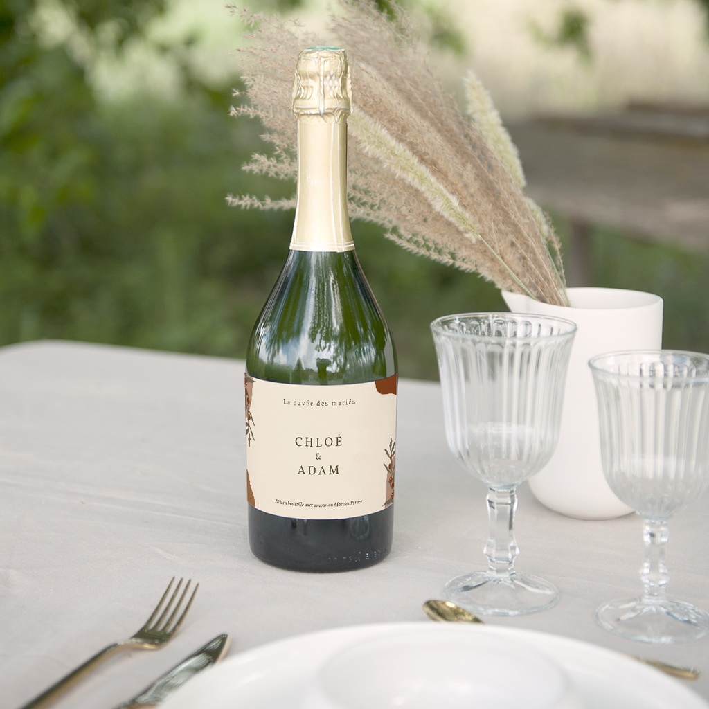 Etiquette bouteille mariage Olivier Boho, champagne gratuit