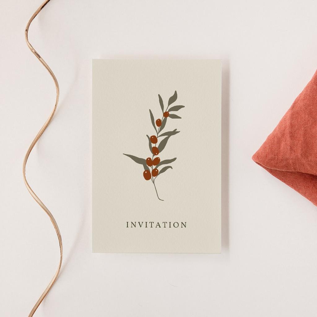 Carte d'invitation mariage Olivier Boho, réception
