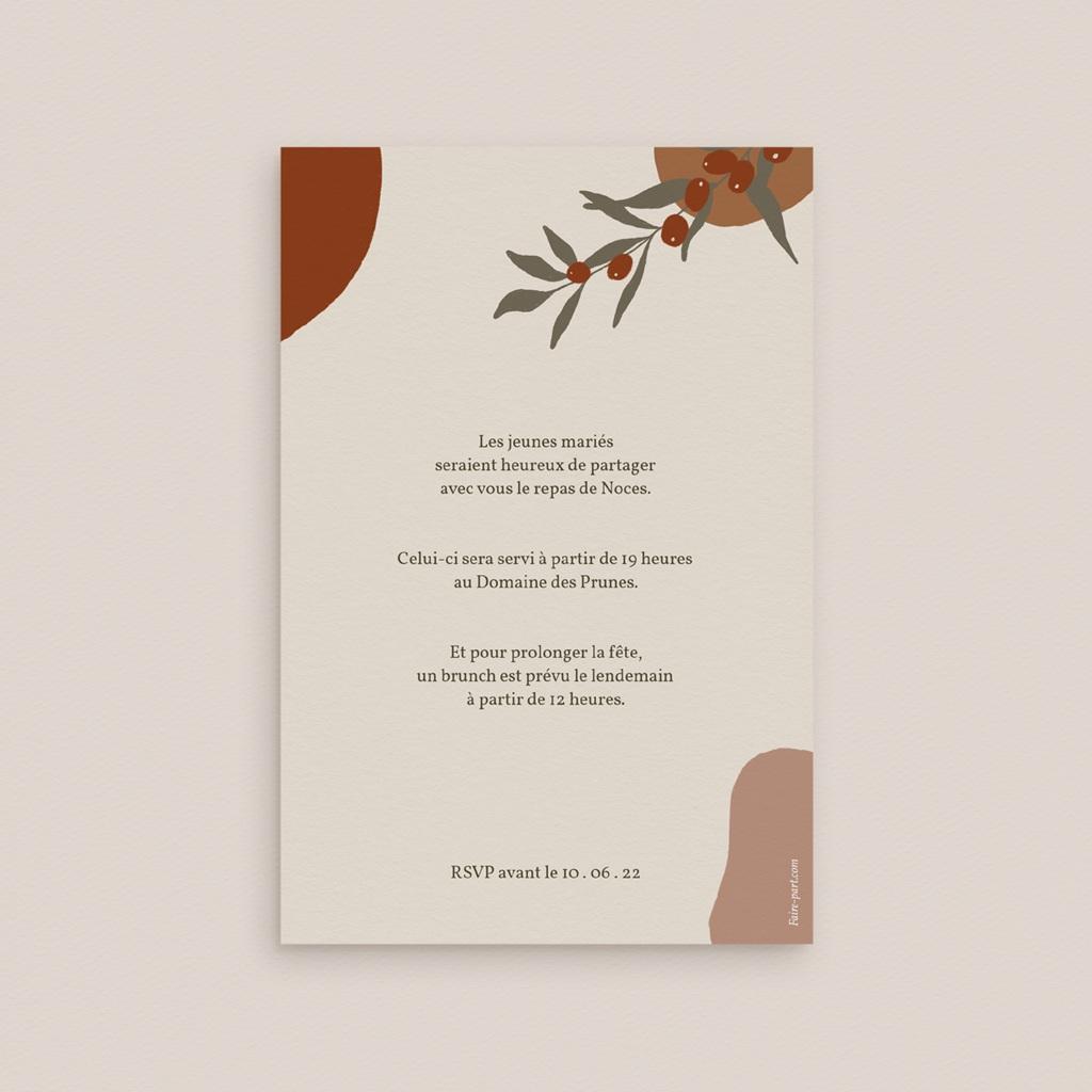 Carte d'invitation mariage Olivier Boho, réception pas cher