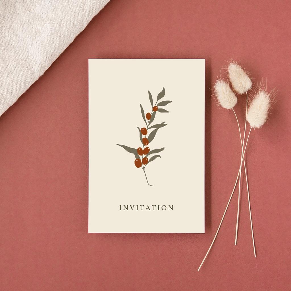 Carte d'invitation mariage Olivier Boho, réception gratuit