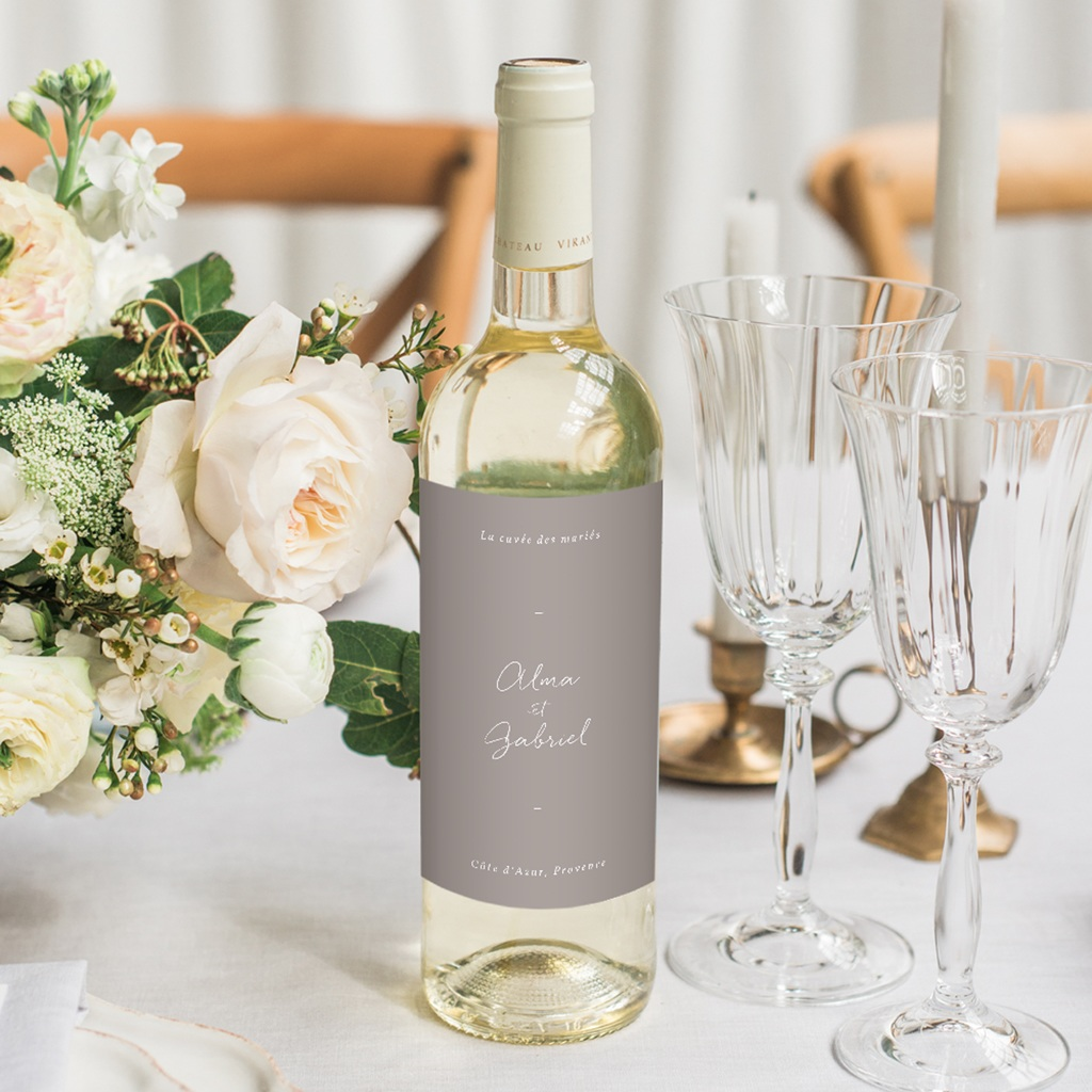 Etiquette bouteille mariage Couronne de Fleurs d'Oranger, Vin