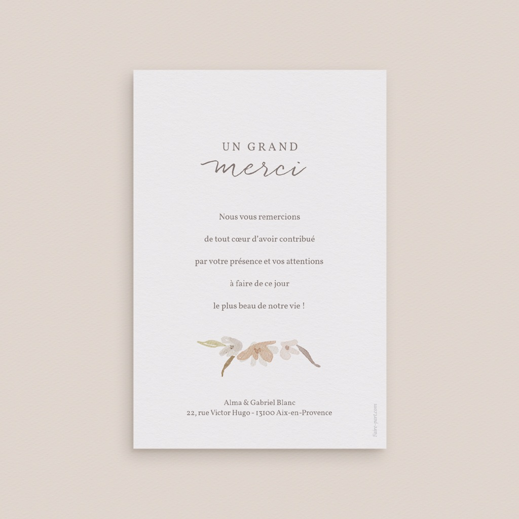 Carte de remerciement mariage Couronne de Fleurs d'Oranger, Portrait pas cher