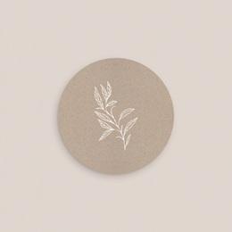 Etiquette enveloppes mariage Kraft Folk, Rond 4,5 cm pas cher