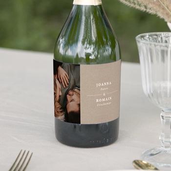 Etiquette bouteille mariage Kraft Folk, horizontal, 13 x 8 cm