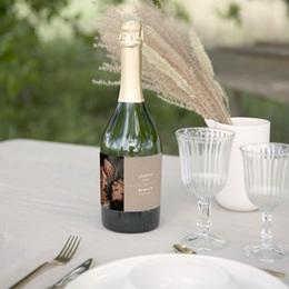 Etiquette bouteille mariage Kraft Folk, horizontal, 13 x 8 cm gratuit