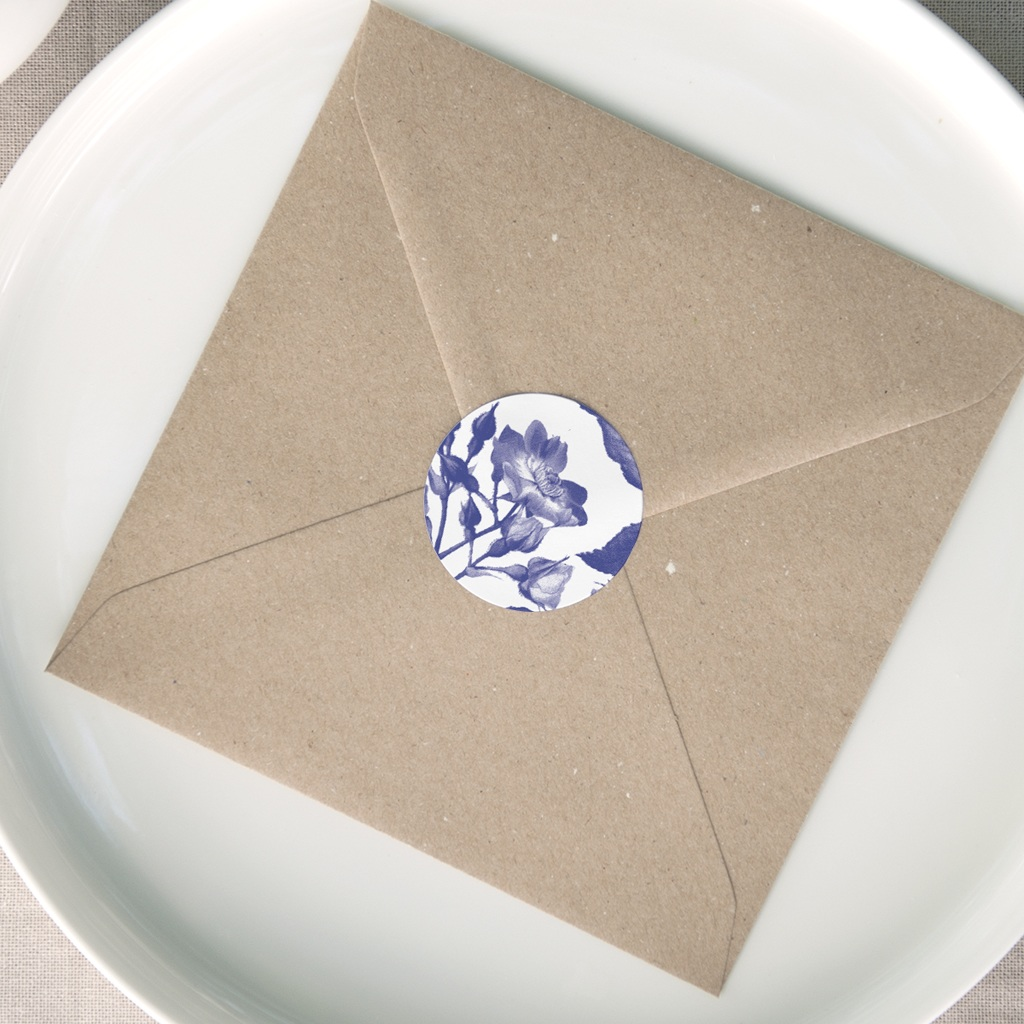 Etiquette enveloppes mariage Rhapsody, fleur Bleue