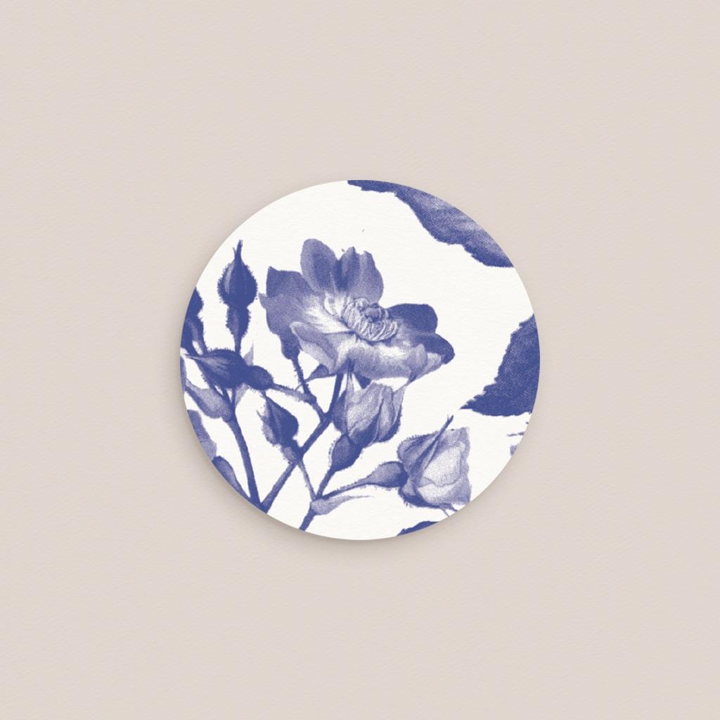 Etiquette enveloppes mariage Rhapsody, fleur Bleue pas cher