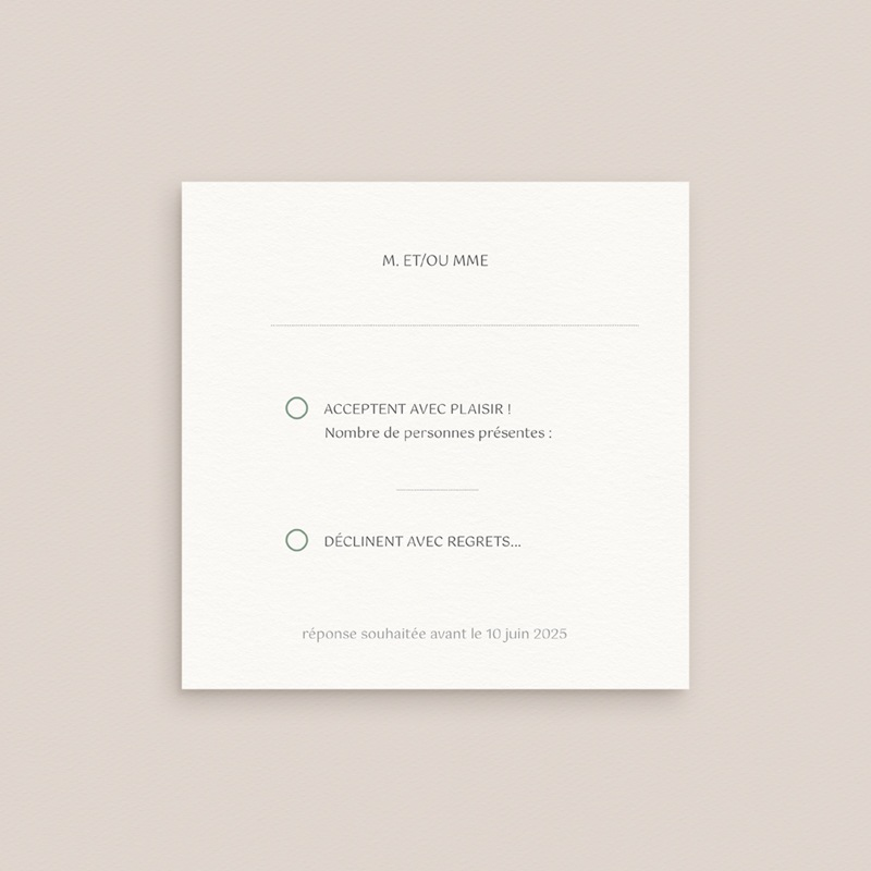 Carton réponse mariage Bohème Fleuri, 10 x 10 cm pas cher