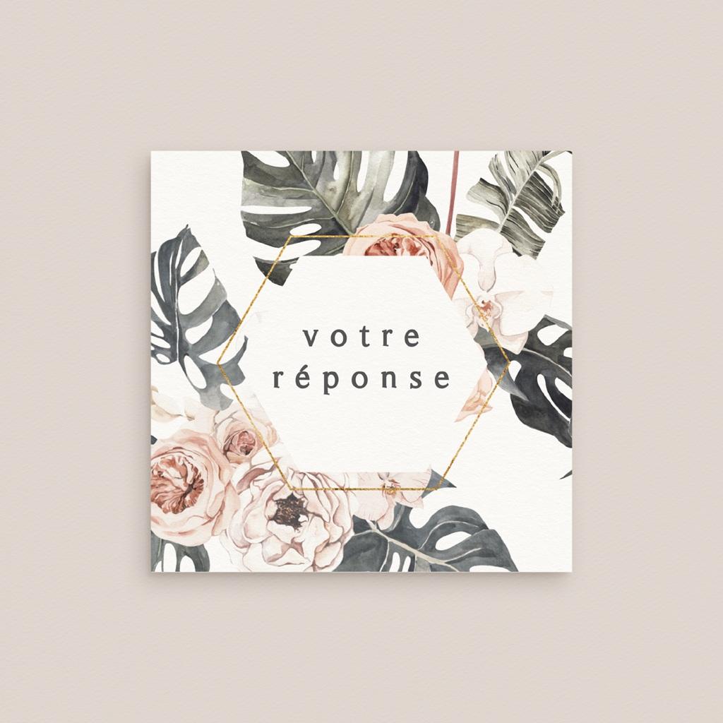 Carton réponse mariage Bohème Fleuri, 10 x 10 cm gratuit