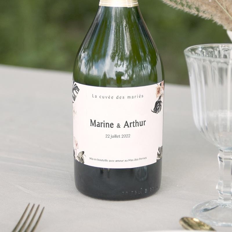 Etiquette bouteille mariage Bohème Fleuri, Champagne & vin
