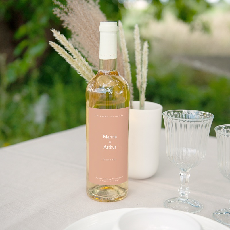 Etiquette bouteille mariage Bohème Fleuri, vin & eau