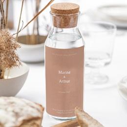 Etiquette bouteille mariage Bohème Fleuri, vin & eau gratuit