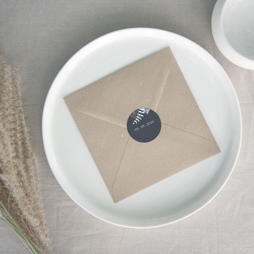 Etiquette enveloppes mariage Matcha, adhésif
