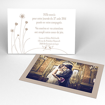 Carte de remerciement mariage Idylle beige