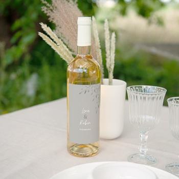 Etiquette bouteille mariage Rameaux d'Olivier, Horizontal, 8x13 cm