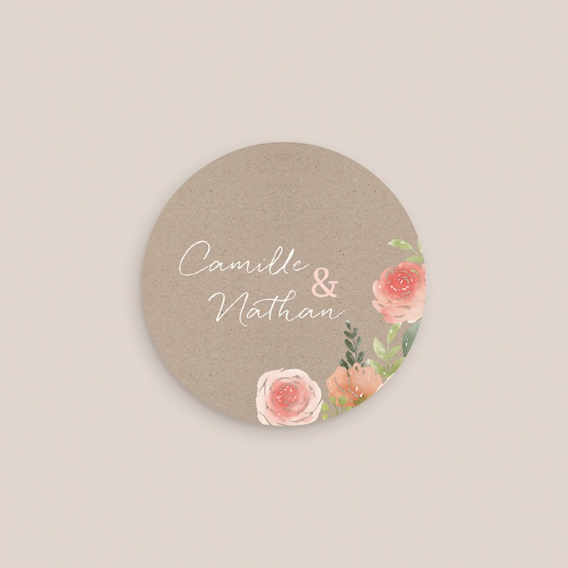Etiquette enveloppes mariage Fleurs d'aquarelle Kraft, 4,5 cm pas cher