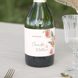 Etiquette bouteille mariage Fleurs d'aquarelle Kraft, 13 x 8 cm