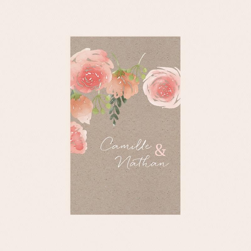 Etiquette bouteille mariage Fleurs d'aquarelle Kraft, 8 x 13 cm pas cher