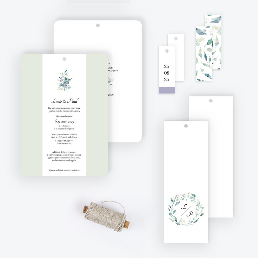 Faire-part de mariage Couronne Fleurs Violettes gratuit